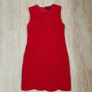 Robert Rodriguez red cocktail scalloped dress